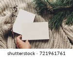 hand holding empty christmas... | Shutterstock . vector #721961761
