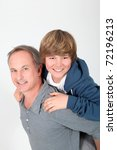 father holding son on his back   Shutterstock . vector #72196213