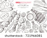 grilled meat and vegetables top ... | Shutterstock .eps vector #721966081