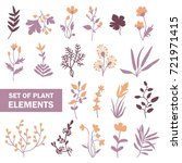 set of hand drawn plant elements | Shutterstock .eps vector #721971415
