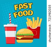 Fast food. Glass of soda with french fries and cheeseburger on blue background, colorful vector illustration