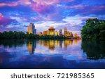 austin texas sunset glow off... | Shutterstock . vector #721985365