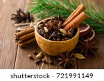 set of spices for mulled wine... | Shutterstock . vector #721991149