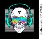 skull in glasses and headphones.... | Shutterstock .eps vector #721994005