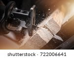 reciprocating saw in action... | Shutterstock . vector #722006641