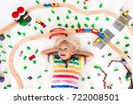 kids play with toy train... | Shutterstock . vector #722008501