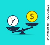 time is money concept. clok and ... | Shutterstock .eps vector #722008621