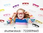 child at eye sight test. little ... | Shutterstock . vector #722009665