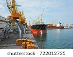 bulk cargo ship under port... | Shutterstock . vector #722012725