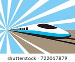 high speed bullet train coming... | Shutterstock .eps vector #722017879