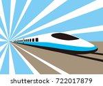 high speed bullet train coming... | Shutterstock .eps vector #722017879