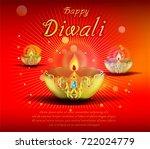 abstract beautiful happy diwali ... | Shutterstock .eps vector #722024779