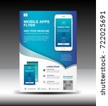 mobile apps flyer template.... | Shutterstock .eps vector #722025691
