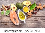 Stock photo selection food sources of omega and unsaturated fats superfood high vitamin e and dietary fiber 722031481