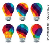 set of colorful bulb icons.... | Shutterstock .eps vector #722034679
