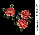 vector embroidery with roses. | Shutterstock .eps vector #722036305