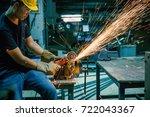heavy industry manual worker... | Shutterstock . vector #722043367