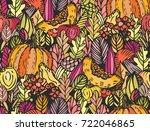 autumn seamless pattern. hand... | Shutterstock .eps vector #722046865