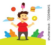 eating healthy food campaign... | Shutterstock .eps vector #722048641