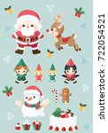 christmas cartoon icon set. | Shutterstock .eps vector #722054521