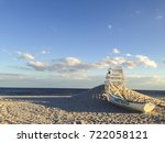a lifeboat and lifeguard chair...   Shutterstock . vector #722058121