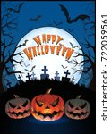 jack o lantern glowing at... | Shutterstock .eps vector #722059561