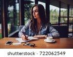 thoughtful skilled author... | Shutterstock . vector #722062549