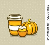pumpkin spice coffee with... | Shutterstock .eps vector #722064589