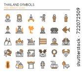 thailand symbols   thin line... | Shutterstock .eps vector #722072509