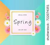 spring sale background with... | Shutterstock .eps vector #722074351