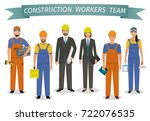 construction workers team.... | Shutterstock .eps vector #722076535