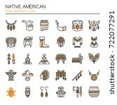 native american   thin line and ... | Shutterstock .eps vector #722077291