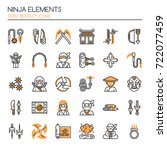 ninja elements   thin line and... | Shutterstock .eps vector #722077459