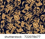 Stock vector seamless pattern of decorative gold floral element 722078677