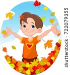 illustration of a boy in a leaf ... | Shutterstock .eps vector #722079355