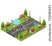 park activity in city... | Shutterstock .eps vector #722082691