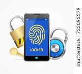 realistic 3d mobile smartphone... | Shutterstock .eps vector #722092579