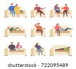 people watching tv on the couch ... | Shutterstock .eps vector #722095489