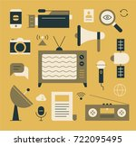 vintage technology object icons ... | Shutterstock .eps vector #722095495