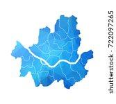 map of seoul   blue geometric...   Shutterstock .eps vector #722097265