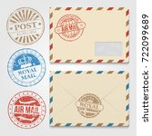 vintage envelopes template with ... | Shutterstock .eps vector #722099689