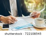businessman hold pen to analyze ... | Shutterstock . vector #722108545