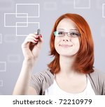 Young businesswomen with pen drawing abstract table. - stock photo