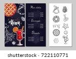 christmas winter menu  for... | Shutterstock .eps vector #722110771