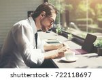 young hipster businessman... | Shutterstock . vector #722118697