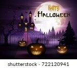 halloween background with... | Shutterstock . vector #722120941