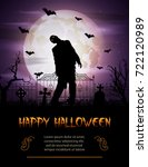 halloween background with... | Shutterstock . vector #722120989