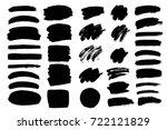 set of black paint  ink brush... | Shutterstock .eps vector #722121829
