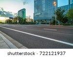 empty asphalt road front of... | Shutterstock . vector #722121937