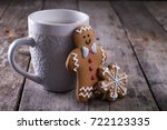 cup of hot chocolate or cocoa... | Shutterstock . vector #722123335